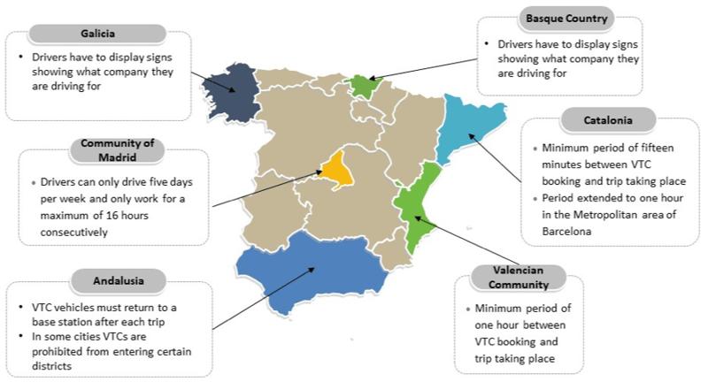 Spain ride hailing map